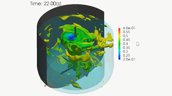 攪拌槽の非定常解析(熱硬化性樹脂)
