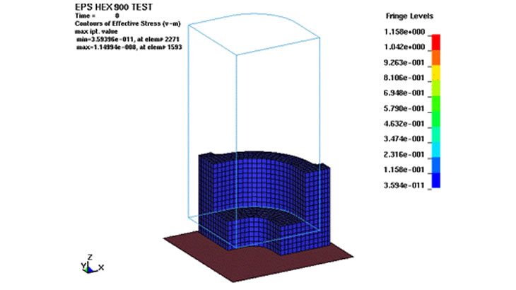 緩衝材の落下解析(発泡材)